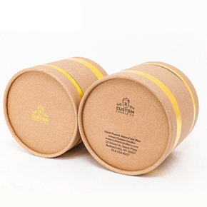100% recycled handmade fabric cardboard food grade paper round tube box packaging container with clear lid for tea